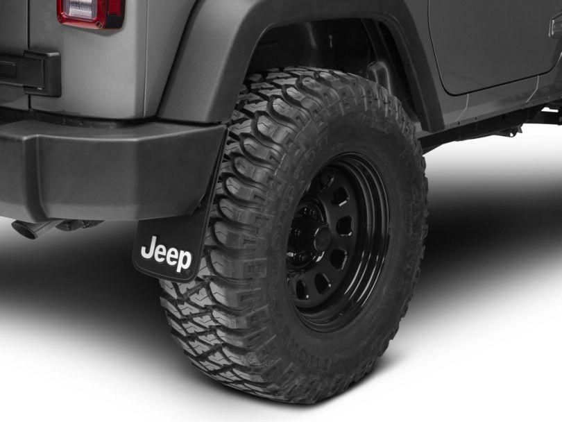 RedRock 4x4 Easy Fit Mud Guards with Jeep Logo; 9-Inch x 15-Inch (87-20 Jeep Wrangler YJ, TJ, JK & JL)