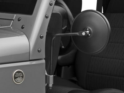 Barricade Round Adventure Mirrors - Textured Black (07-18 Jeep Wrangler JK; 2018 Jeep Wrangler JL)