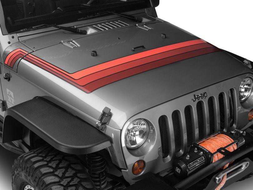 Retro Style Hood Stripes - Orange (07-20 Jeep Wrangler JK & JL)
