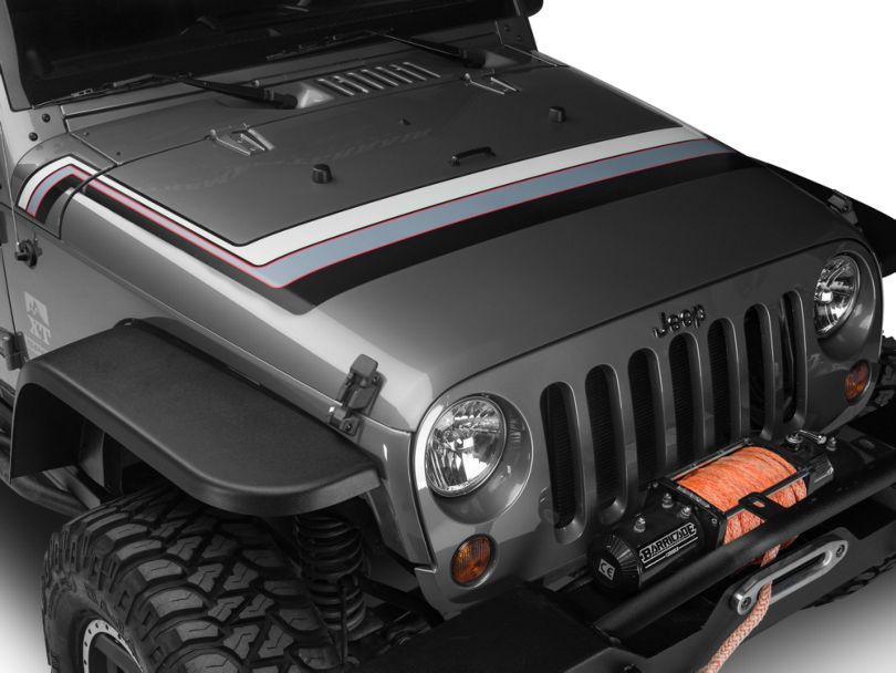 Retro Style Hood Stripes - Gray & Red (07-20 Jeep Wrangler JK & JL)