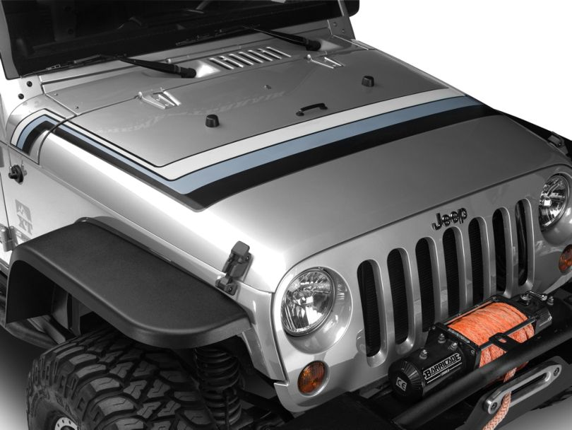 Retro Style Hood Stripes - Black & Gray (07-20 Jeep Wrangler JK & JL)