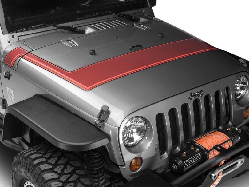 Retro Style Pinstriped Hood Stripes - Orange (07-20 Jeep Wrangler JK & JL)