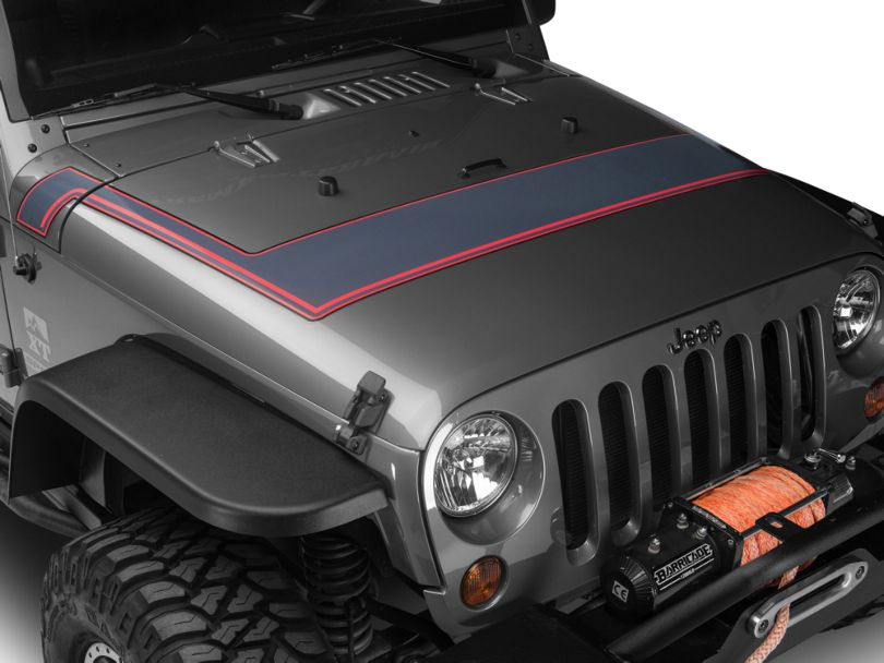 Retro Style Pinstriped Hood Stripes - Gray & Red (07-20 Jeep Wrangler JK & JL)