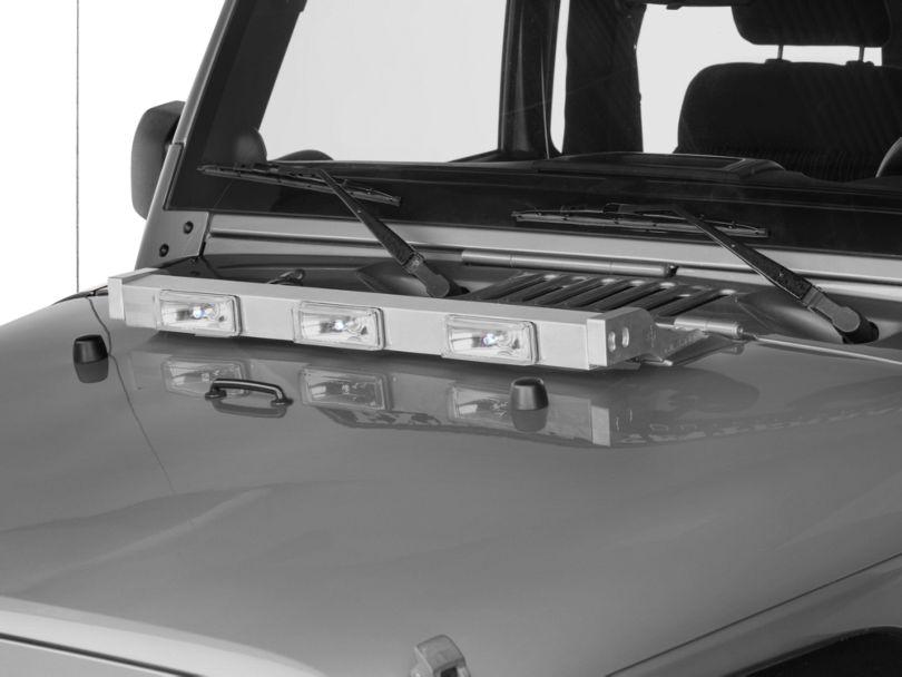 Delta Aluminum Xenon Hood Light Bar; Silver (97-11 Jeep Wrangler TJ & JK)