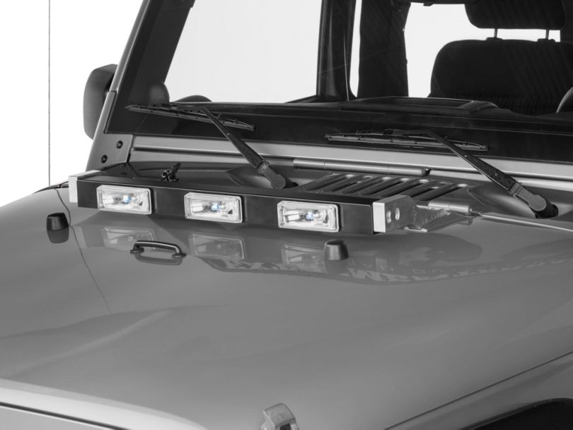 Delta Aluminum Xenon Hood Light Bar; Black (97-11 Jeep Wrangler TJ & JK)