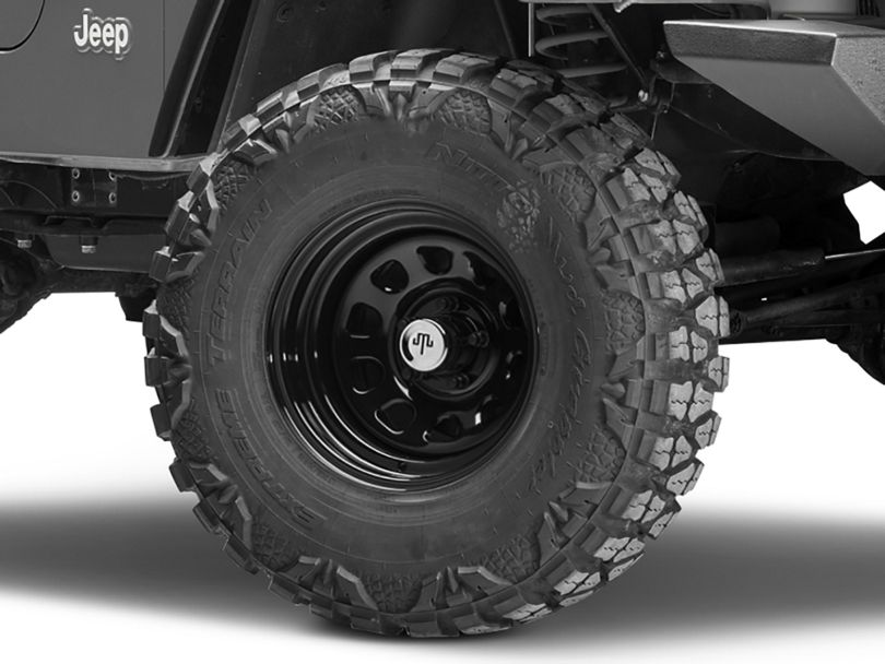 Mammoth D Window Black Wagon Wheel Edition Steel Wheel - 15x8 (97-06 Jeep Wrangler TJ)