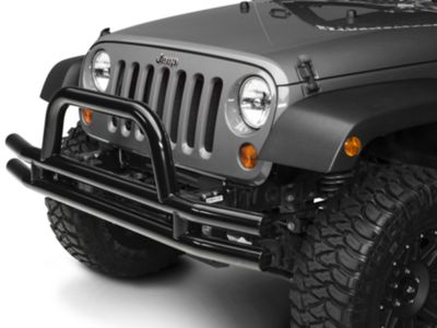 Add Smittybilt 3 in. Front Tubular Bumper w/ Hoop - Gloss Black (07-17 Wrangler JK)