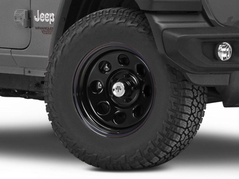 Mammoth 8 Steel Black Wheel w/ Polished Center Cap - 17x9 (18-20 Jeep Wrangler JL)
