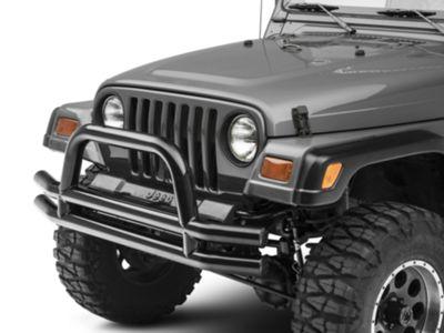 Add Smittybilt Tubular Front Bumper w/ Hoop - Gloss Black (87-06 Wrangler YJ & TJ)