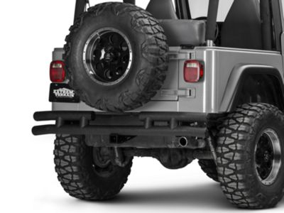 Add Smittybilt Tubular Rear Bumper w/ Hitch - Textured Black (87-06 Wrangler YJ & TJ)