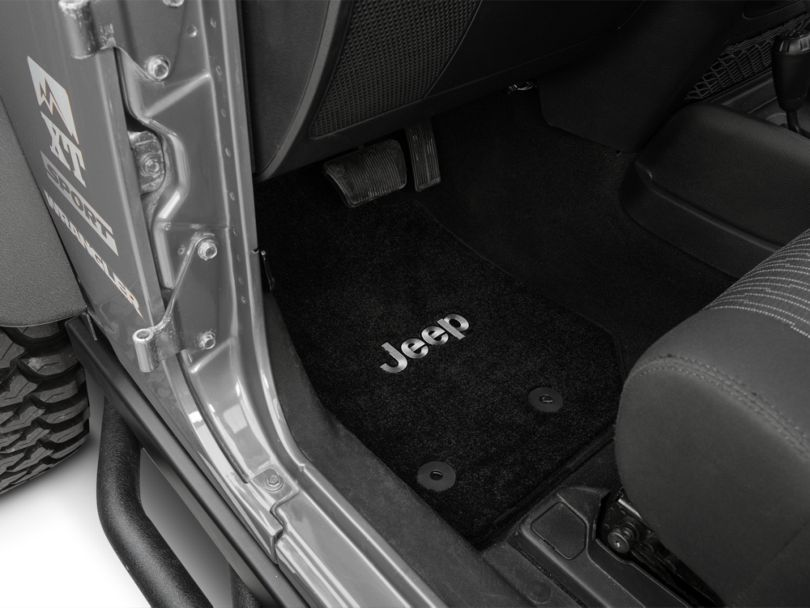 Lloyd Ultimat Front and Rear Floor Mats with Jeep Logo; Black (14-18 Jeep Wrangler JK 2 Door)