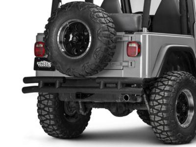 Add Smittybilt Tubular Rear Bumper w/ Hitch - Textured Black (87-06 Wrangler YJ & TJ)