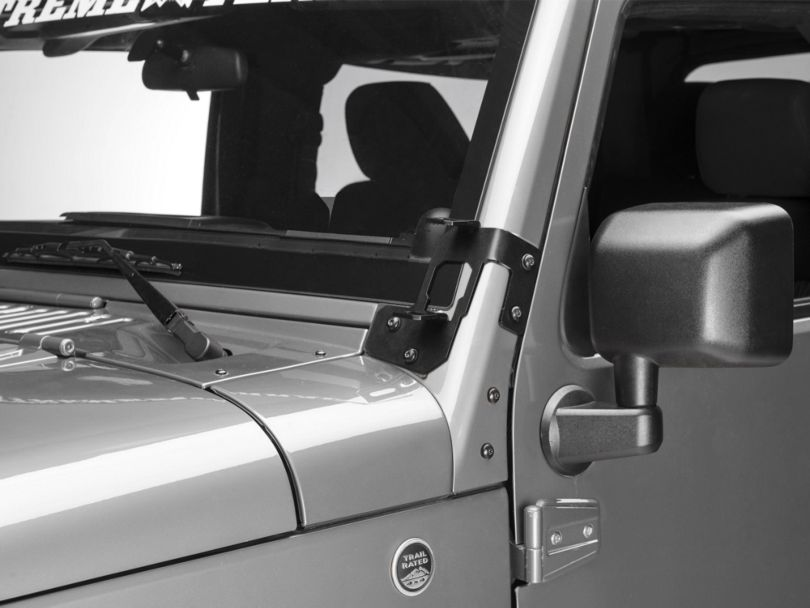 Rugged Ridge Dual A-Pillar Light Mounting Brackets - Semi-Gloss Black (07-18 Jeep Wrangler JK)