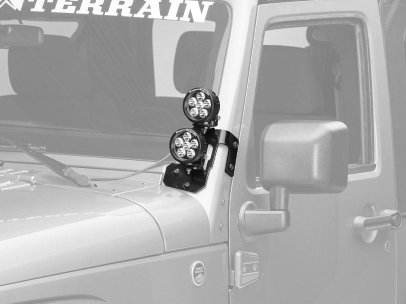 Rugged Ridge 3.50 Inch Round LED Lights with Semi-Gloss Black Dual A-Pillar Light Mounting Brackets (07-18 Jeep Wrangler JK)