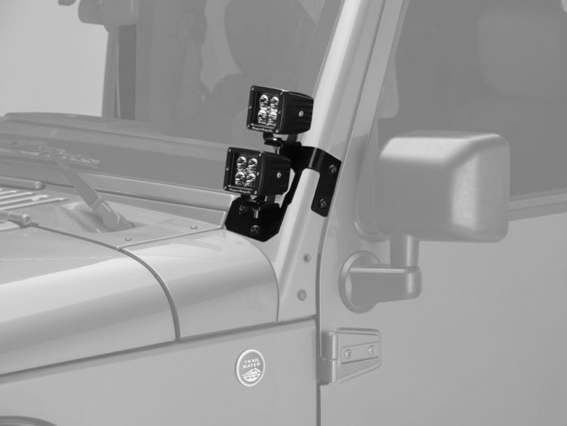 Rugged Ridge 3 in. Square LED Lights w/ Semi-Gloss Black Dual A-Pillar Light Mounting Brackets (07-18 Jeep Wrangler JK)