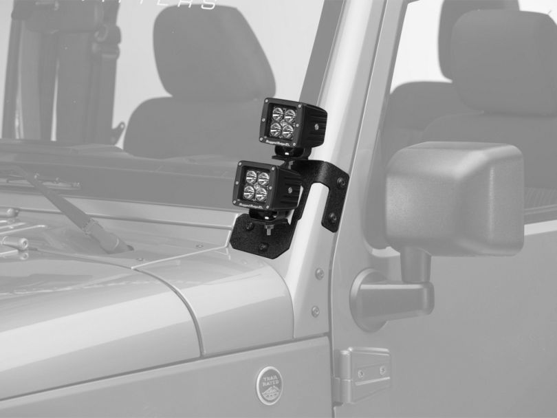 Rugged Ridge 3-Inch Square LED Lights with Textured Black Dual A-Pillar Light Mounting Brackets (07-18 Jeep Wrangler JK)