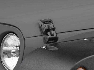 Rugged Ridge Aluminum Hood Catch Kit - Textured Black (07-18 Jeep Wrangler JK)