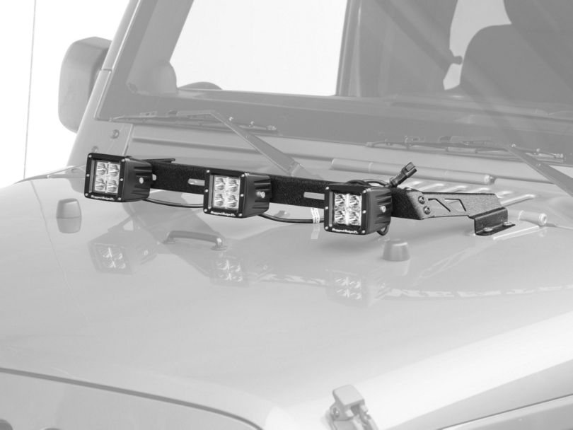 Rugged Ridge 3-Inch Square LED Lights with Textured Black Hood Mounted Light Bar (07-18 Jeep Wrangler JK)