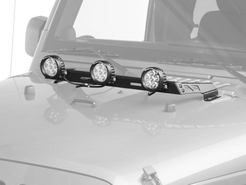 Rugged Ridge 3.5 in. Round LED Lights w/ Textured Black Hood Mounted Light Bar (07-18 Jeep Wrangler JK)