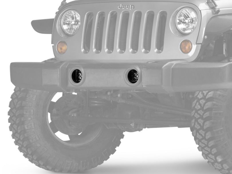 Rugged Ridge 3-Inch Square LED Lights with Fog Light Mounting Brackets (07-18 Jeep Wrangler JK)