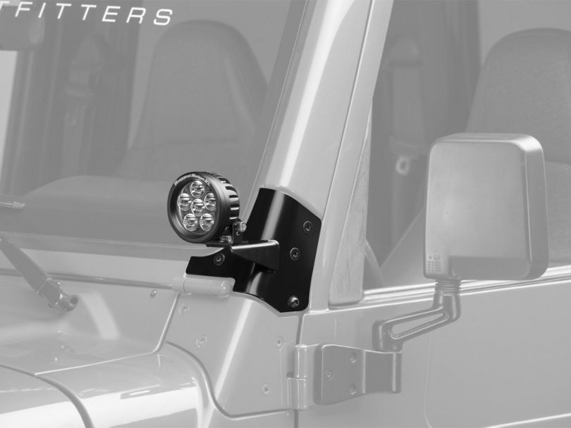 Rugged Ridge 3.5 in. Round LED Lights w/ Windshield Mounting Brackets (97-06 Jeep Wrangler TJ)
