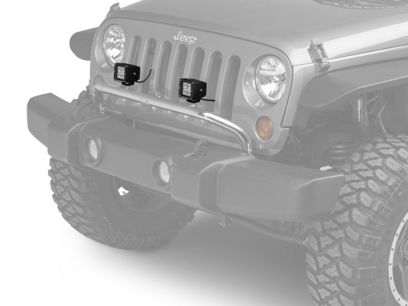 Rugged Ridge 3 in. Square LED Lights w/ Stainless Steel Front Bumper Light Bar (07-18 Jeep Wrangler JK)