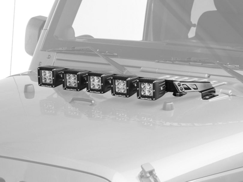 Rugged Ridge 3 in. Square LED Lights w/ Hood Mounted Light Bar (07-18 Jeep Wrangler JK)