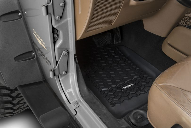 Rugged Ridge All-Terrain Front, Rear & Cargo Floor Mats - Black (07-10 Jeep Wrangler JK 4 Door)