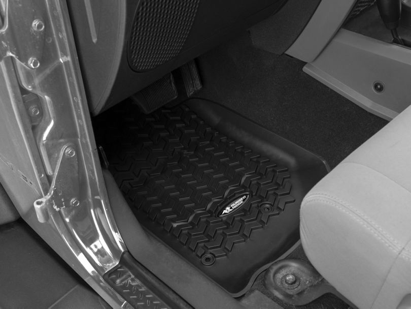 Rugged Ridge All-Terrain Front, Rear & Cargo Floor Mats - Black (07-10 Jeep Wrangler JK 2 Door)