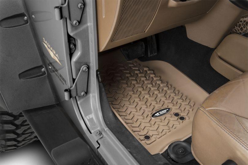 Rugged Ridge All-Terrain Front, Rear & Cargo Floor Mats - Tan (07-10 Jeep Wrangler JK 4 Door)