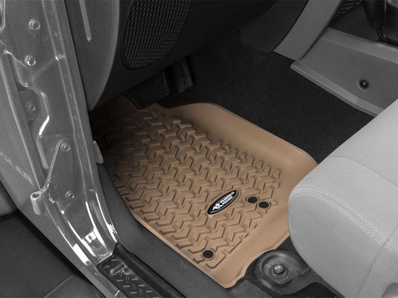 Rugged Ridge All-Terrain Front, Rear and Cargo Floor Mats; Tan (07-10 Jeep Wrangler JK 2 Door)