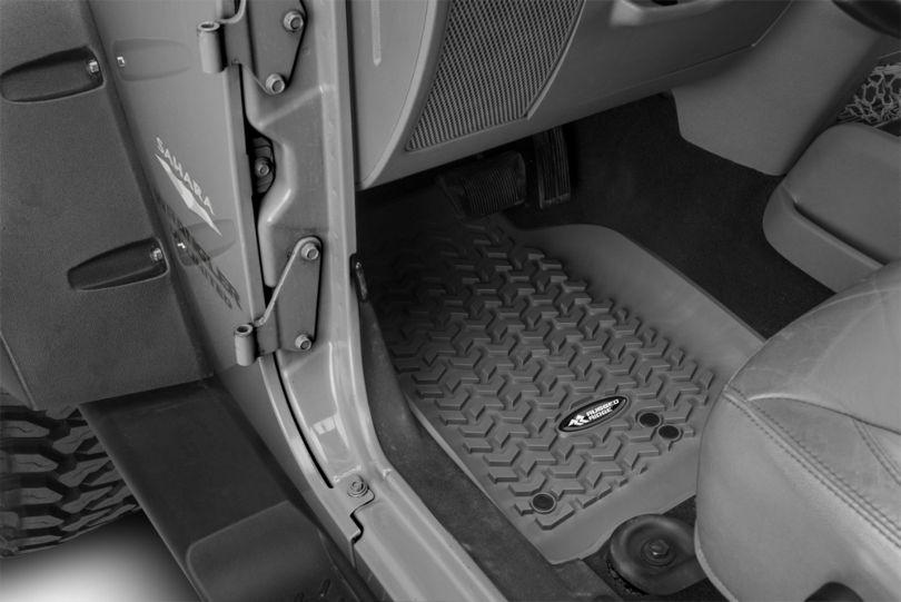 Rugged Ridge All-Terrain Front, Rear & Cargo Floor Mats - Gray (07-10 Jeep Wrangler JK 4 Door)
