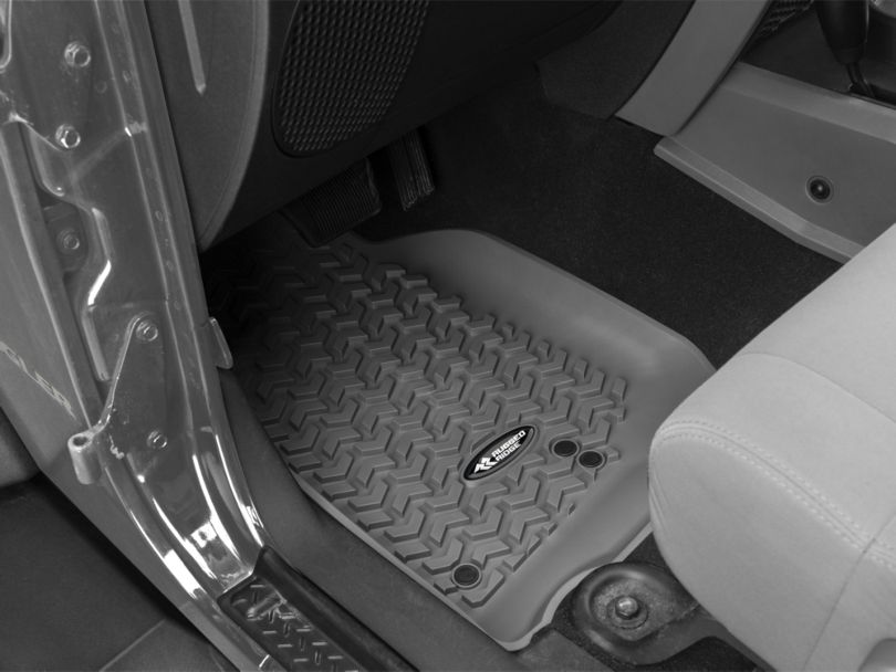 Rugged Ridge All-Terrain Front, Rear & Cargo Floor Mats - Gray (07-10 Jeep Wrangler JK 2 Door)