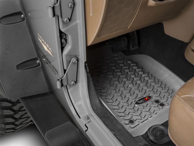 Rugged Ridge All-Terrain Front, Rear & Cargo Floor Mats - Gray (11-18 Jeep Wrangler JK 4 Door)
