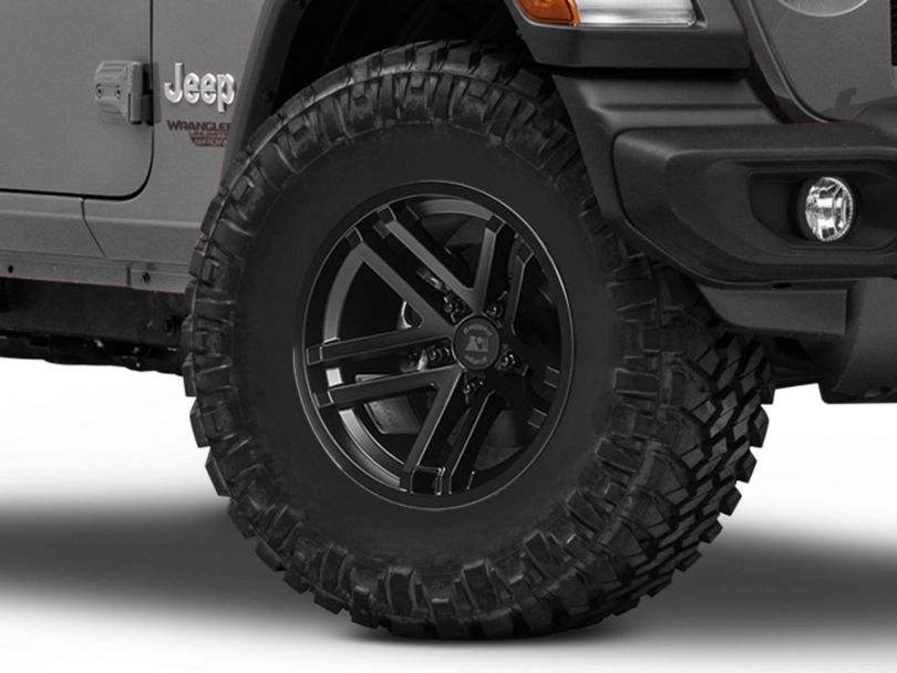 Rugged Ridge Jesse Spade Satin Black Wheel; 17x9 (18-20 Jeep Wrangler JL)