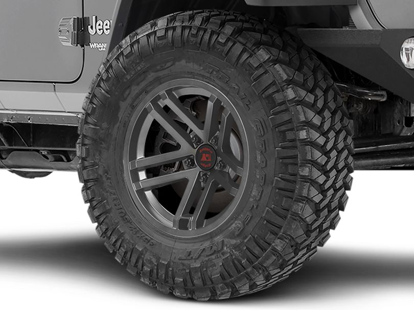 Rugged Ridge Jesse Spade Satin Gunmetal Gray Wheel; 17x9 (18-20 Jeep Wrangler JL)