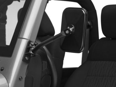 Rugged Ridge Quick Release Textured Rectangular Mirrors - Black (97-18 Jeep Wrangler TJ & JK)