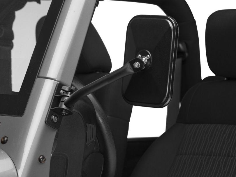 Barricade Quick Release Textured Rectangular Mirrors - Black (07-18 Jeep Wrangler JK)