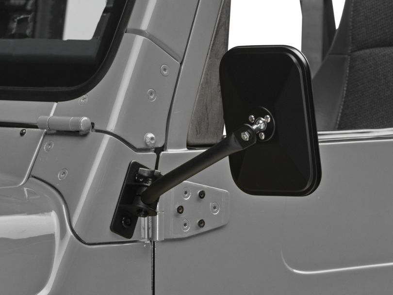 Barricade Quick Release Textured Rectangular Mirrors - Black (97-06 Jeep Wrangler TJ)