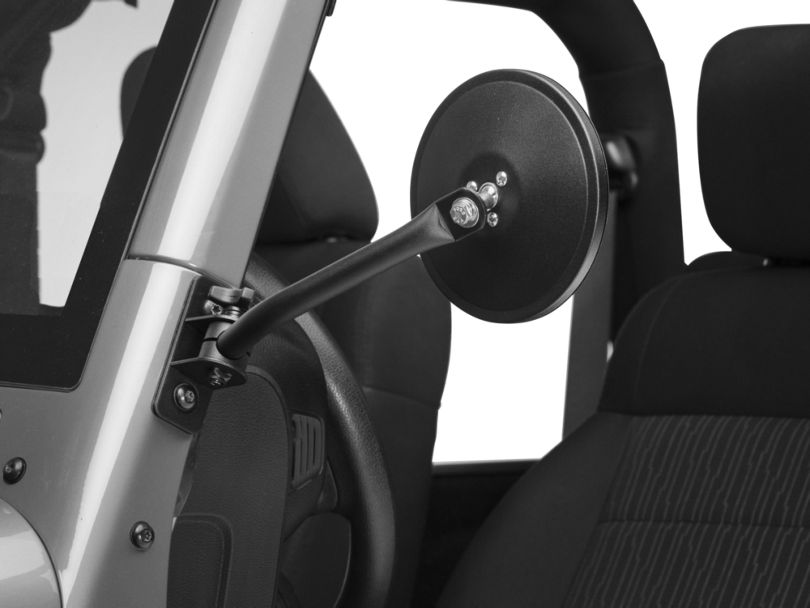 Rugged Ridge Quick Release Textured Round Mirrors - Black (97-18 Jeep Wrangler TJ & JK)