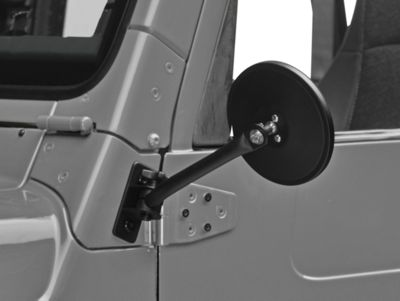 Rugged Ridge Quick Release Textured Round Mirrors - Black (97-06 Jeep Wrangler TJ)