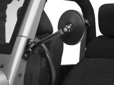 Rugged Ridge Quick Release Textured Round Mirrors - Black (07-18 Jeep Wrangler JK)