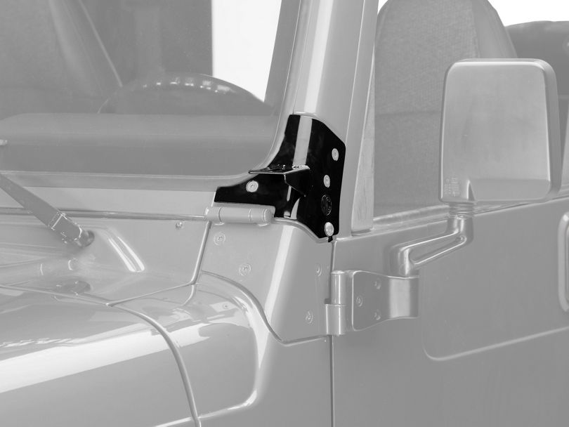 KC HiLiTES Windshield Hinge Mounting Brackets - Black (97-06 Jeep Wrangler TJ)