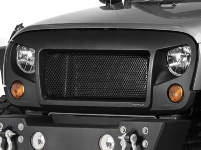 Add Rugged Ridge Spartan Grille - Satin Black (07-17 Wrangler JK)