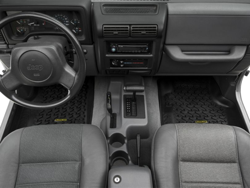 Barricade Front, Rear and Cargo Floor Mats; Black (97-06 Jeep Wrangler TJ)