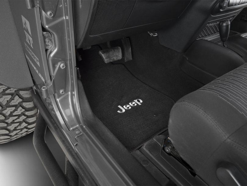 Lloyd Front & Rear Floor Mats w/ Jeep Logo - Black (11-13 Jeep Wrangler JK 2 Door)