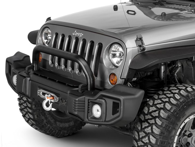 Rugged Ridge Spartacus Front Bumper with Over-Rider Hoop; Satin Black (07-18 Jeep Wrangler JK)