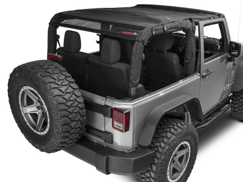 JTopsUSA Mesh Shade Top - Black (07-18 Jeep Wrangler JK 2 Door)
