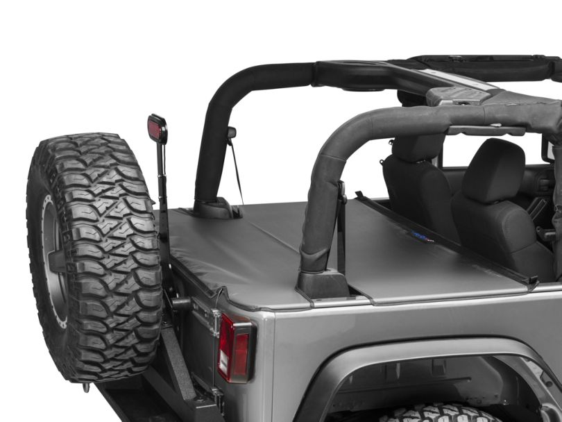 JTopsUSA Tonneau Cover - Black (07-18 Jeep Wrangler JK 2 Door)