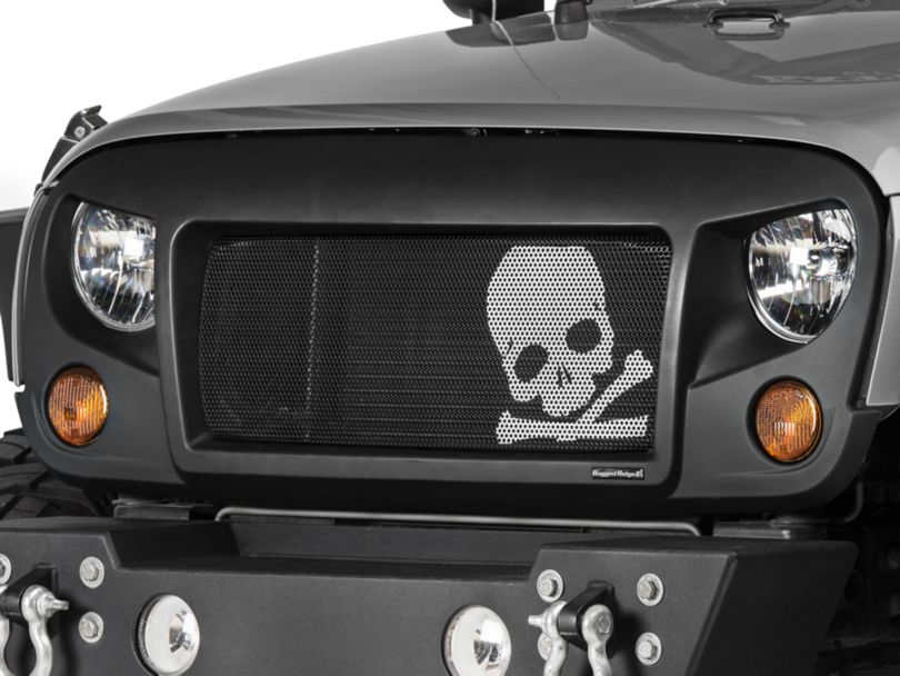 Rugged Ridge Spartan Grille with Skull Insert - Satin Black (07-18 Jeep Wrangler JK)